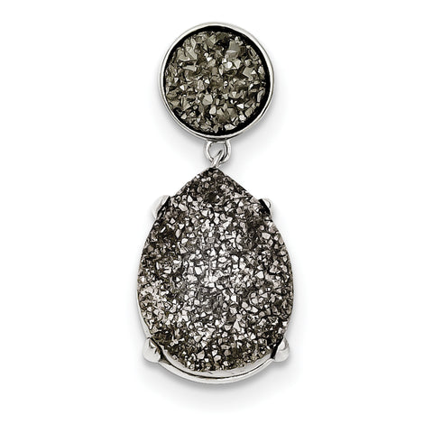 Sterling Silver and Gray Druzy Pendant Slide