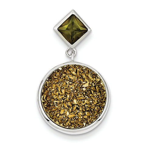 Sterling Silver with Yellow Druzy & Green CZ Round Pendant