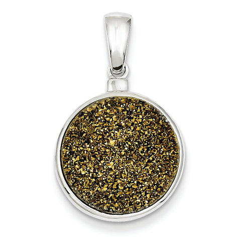 Sterling Silver and Yellow Druzy Round Pendant