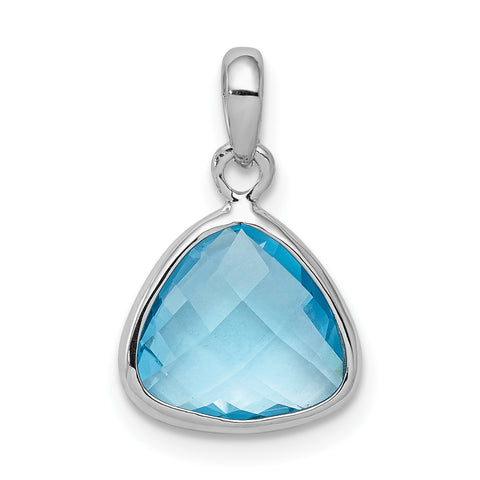 Sterling Silver Rhodium-plated Blue Topaz Pendant