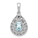 Sterling Silver Rhodium Plated Aquamarine Teardrop Pendant