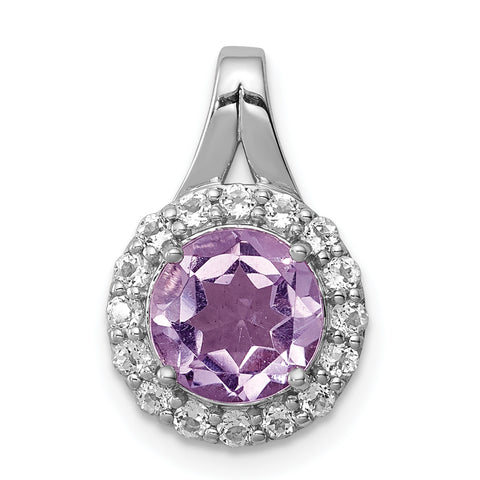 Sterling Silver Rhodium-plated White Topaz & Pink Quartz Circle Pendant