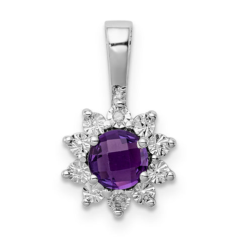 Sterling Silver Rhodium-plated Diamond Amethyst Pendant