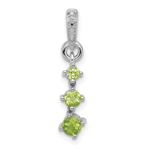 Sterling Silver Rhodium-plated Peridot Diamond Pendant