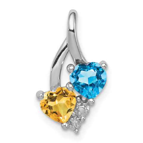 Sterling Silver Rhodium-plated Blue Topaz & Citrine Diamond Pendant