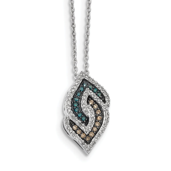 Sterling Silver Antiqued Fancy Swirl White, Champagne, Blue Diamond Pendant