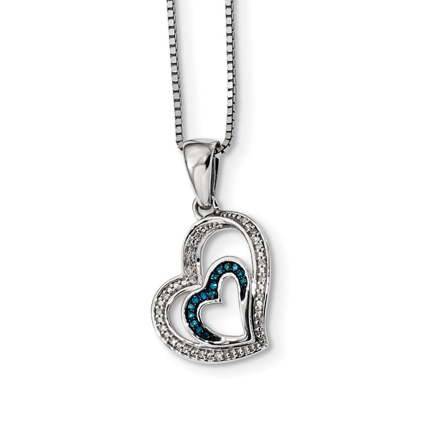 Sterling Silver Blue and White Diamond Heart Pendant
