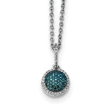 Sterling Silver Blue and White Diamond Round Pendant