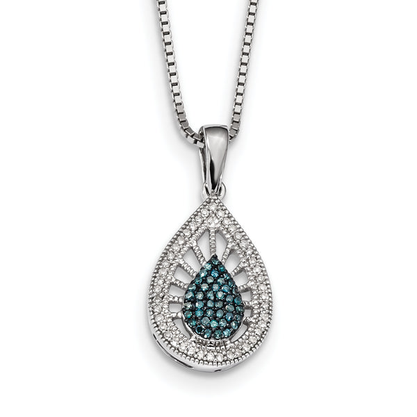 Sterling Silver Rhodium Plated Blue & White Diamond Pendant
