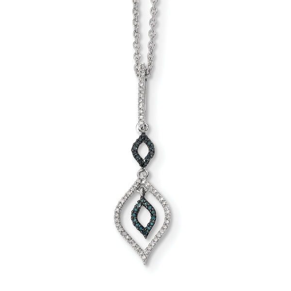 Sterling Silver Blue and White Diamond Pendant