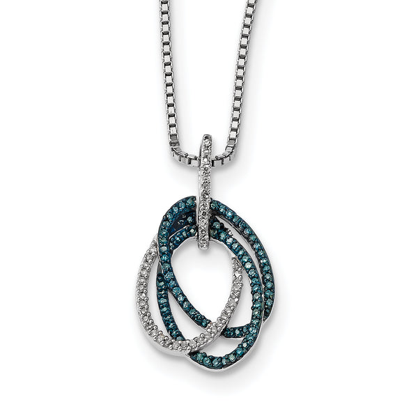 Sterling Silver Blue and White Diamond Triple Oval Pendant