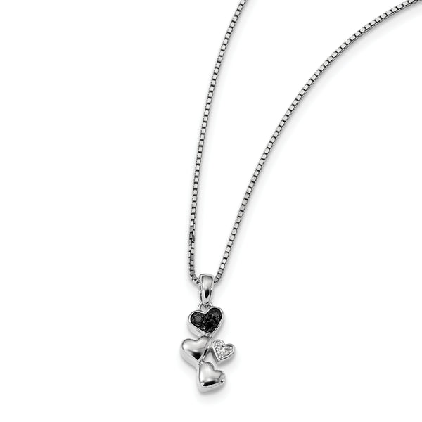 Sterling Silver White & Black Diamond Heart Pendant