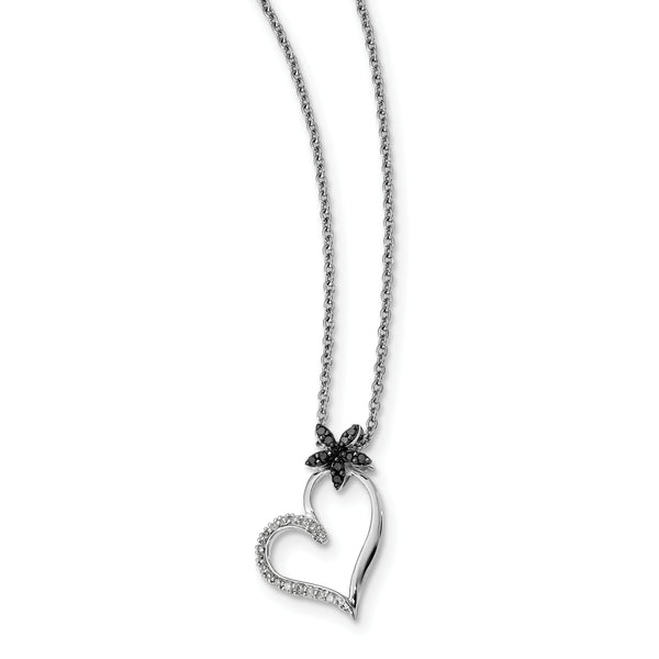 Sterling Silver Rhodium Plated Black & White Diamond Heart Pendant