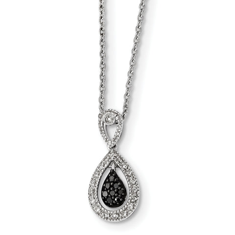 Sterling Silver Rhodium Plated Black/White Diamond Teardrop Pendant