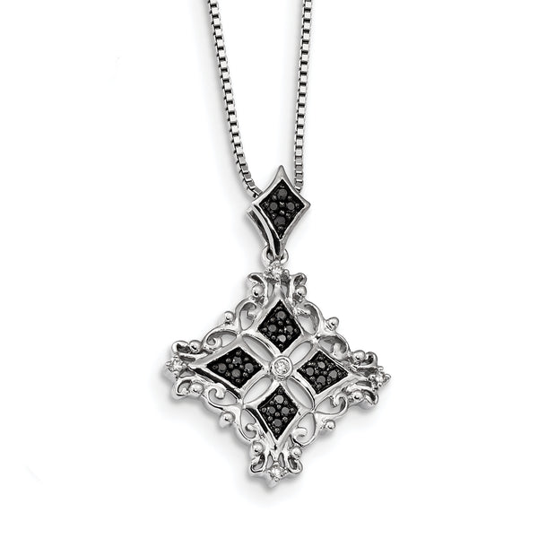 Sterling Silver Rhodium Plated Black & White Diamond Pendant