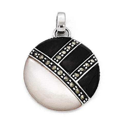 Sterling Silver Marcasite MOP & Onyx Pendant
