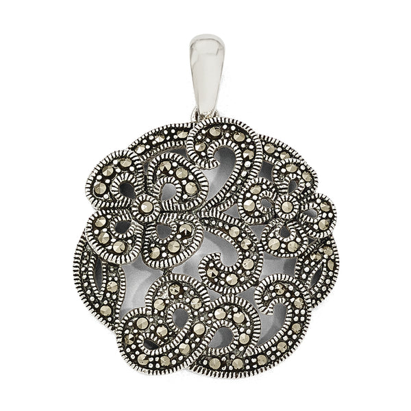 Sterling Silver Marcasite w/Flowers Pendant