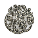 Sterling Silver Marcasite Flowers & Butterfly Pendant