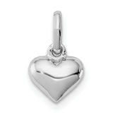 Sterling Silver RH Plated Child's Polished Heart Pendant