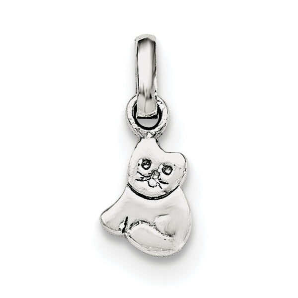 Sterling Silver RH Plated Child's Polished Kitty Cat Pendant