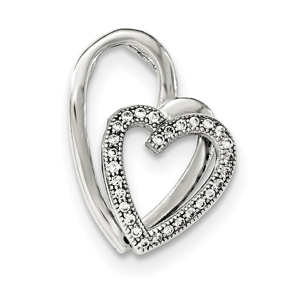 Sterling Silver Polished CZ Double Heart Pendant