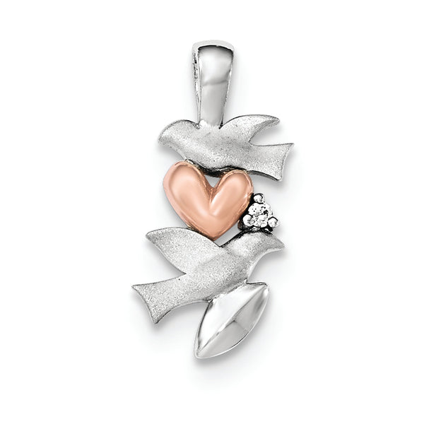 Sterling Silver CZ Rose Plated Heart Satin Dove Pendant