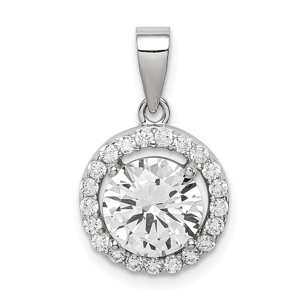 Sterling Silver Polished with CZ Pendant