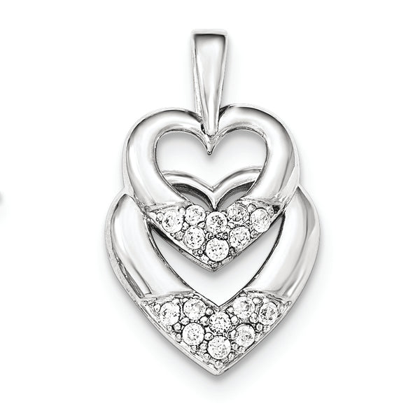 Sterling Silver CZ Double Heart Pendant