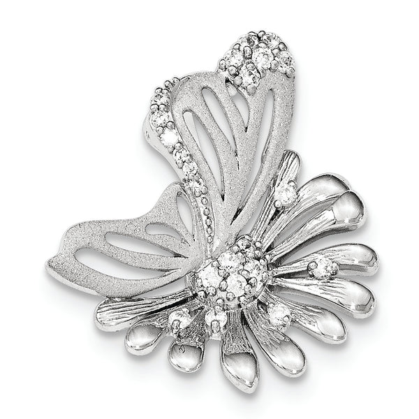 Sterling Silver Polished And Satin Flower Butterfly CZ Slide