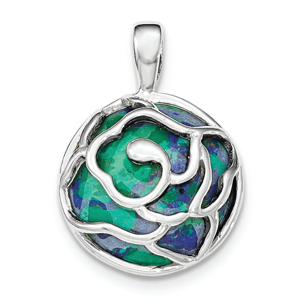 Sterling Silver Polished Round Azurite Chrysocolla Pendant