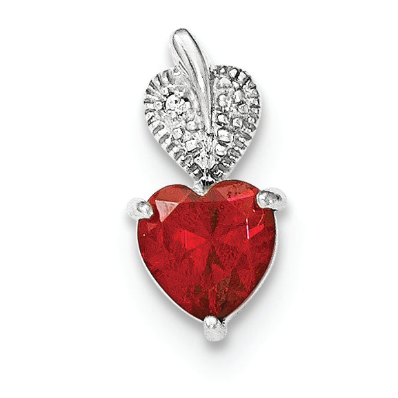 Sterling Silver Polished Red/White CZ Heart Pendant