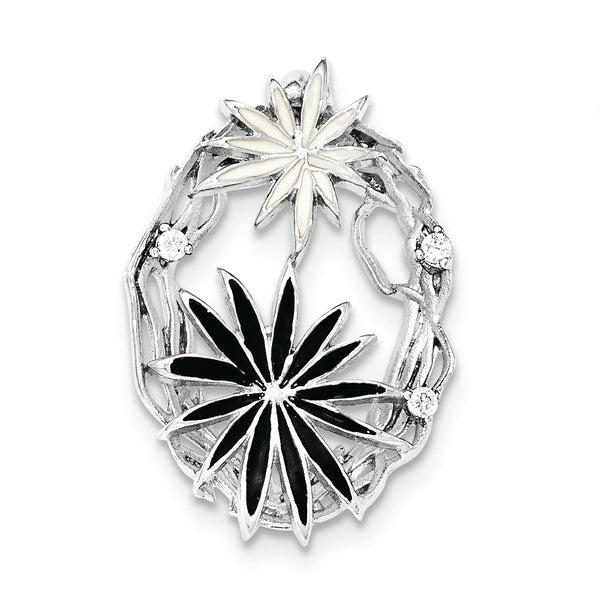 Sterling Silver Polished And Satin Black And White Enamel CZ Slide