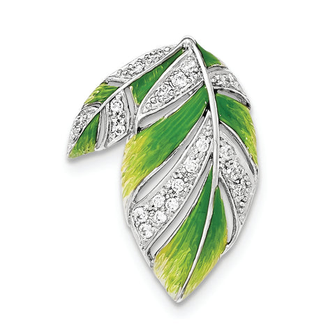 Sterling Silver Green And Yellow Enamel Leaf And CZ Slide