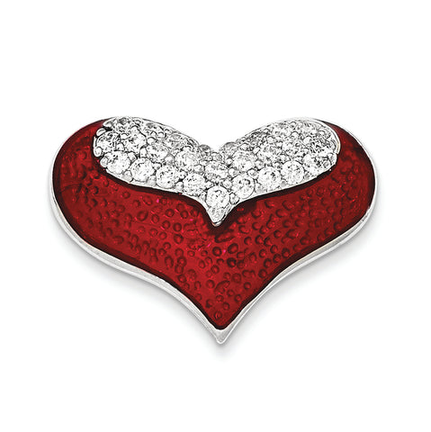 Sterling Silver Polished Red Enamel With CZ Slide