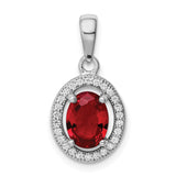 Sterling Silver Rhodium-plated w/ Red & White CZ Oval Pendant