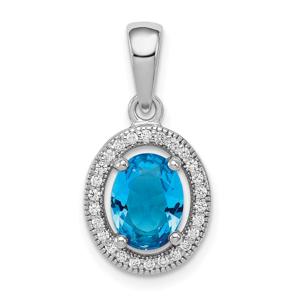 Sterling Silver Rhodium-plated w/ Blue & White CZ Oval Pendant