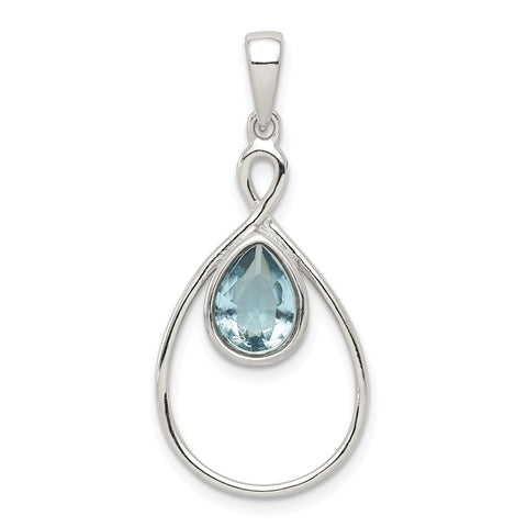 Sterling Silver Polished with Aquamarine Glass Pendant