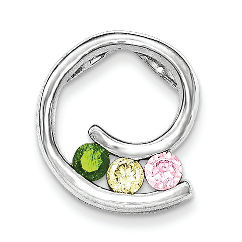 Sterling Silver Polished Green,Yellow,Pink CZ Slide