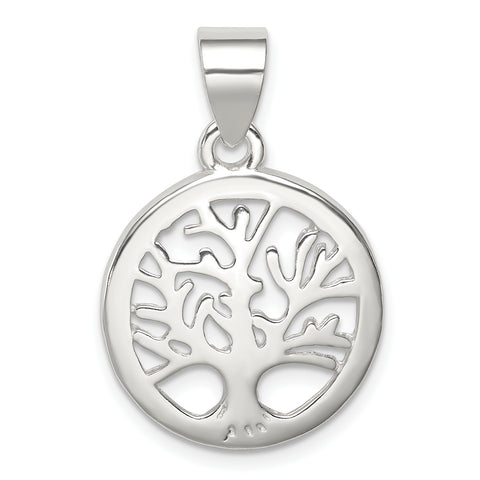 Sterling Silver Polished Round Tree Pendant
