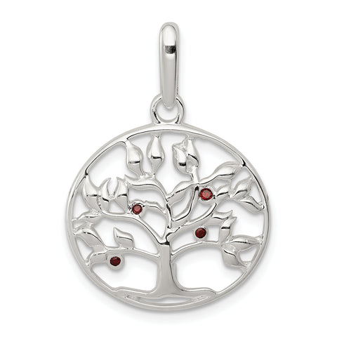 Sterling Silver Polished Red CZ Tree Circle Pendant