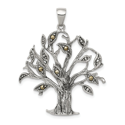 Sterling Silver Oxidized w/Marcasite Tree Pendant