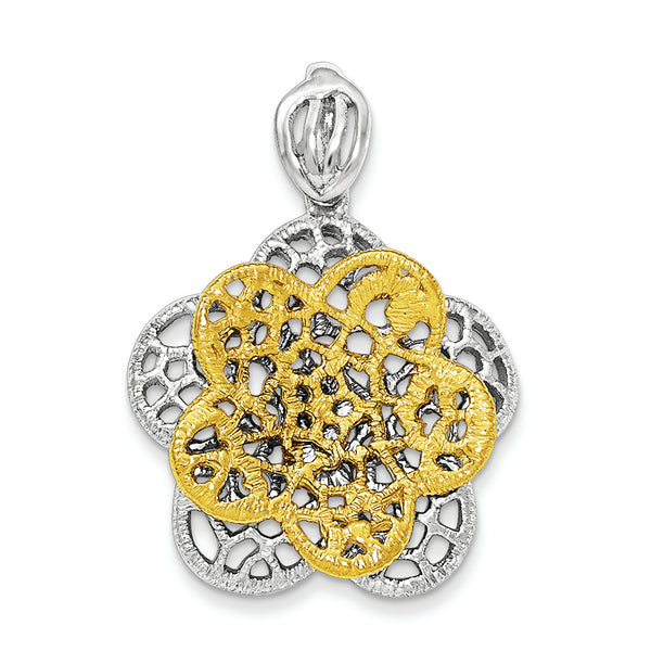 Sterling Silver Rhodium-plated Gold-tone Flower Pendant