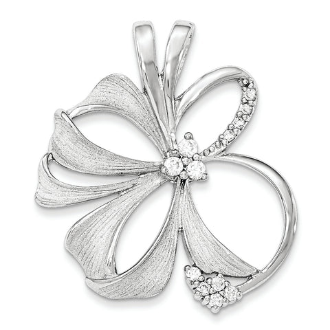 Sterling Silver Polished And Satin Flower CZ Slide
