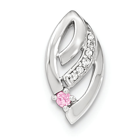 Sterling Silver Polished White & Pink CZ Fancy Chain Slide Pendant
