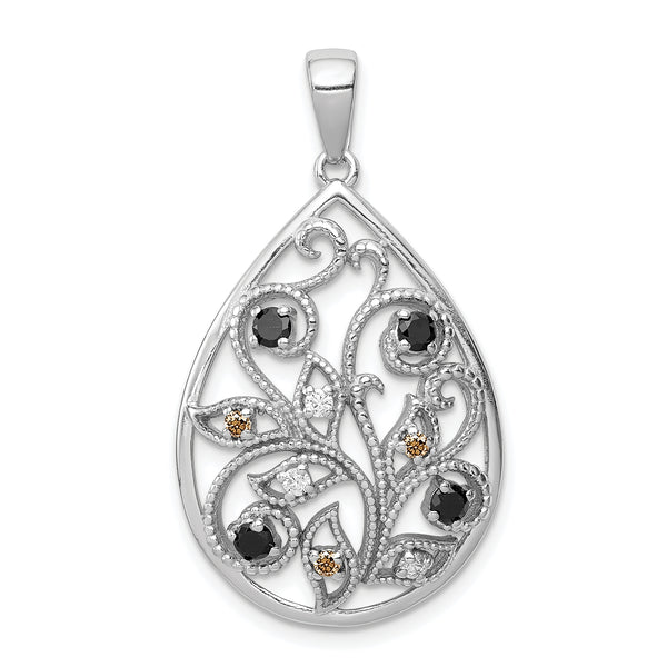 Sterling Silver Rhodium-plated Polished & Textured w/ CZ Pendant