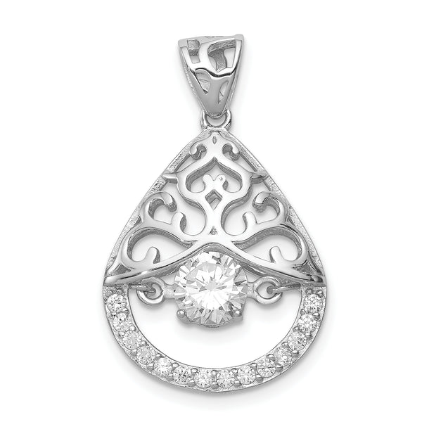 Sterling Silver Rhodium-plated Vibrant CZ Pendant