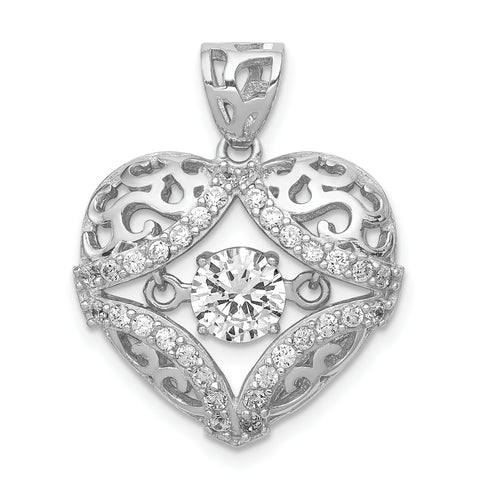 Sterling Silver Rhodium-plated Vibrant CZ Heart Pendant