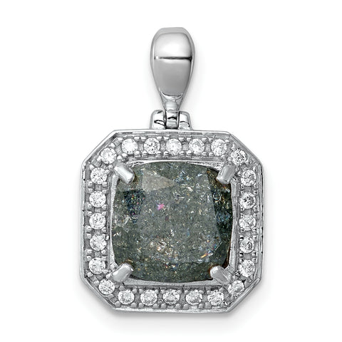 Sterling Silver Rhodium-plated Square Gray Ice CZ Pendant