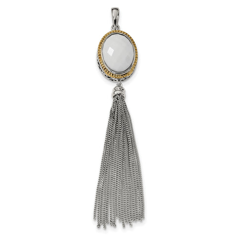 Sterling Silver/14K Gold-plated Faceted White Onyx Tassel Pendant