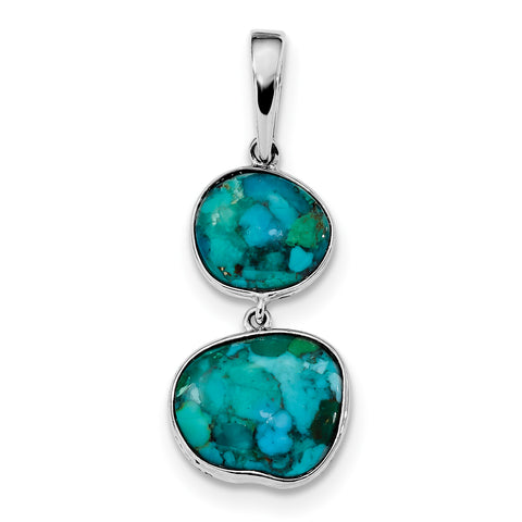Sterling Silver Rhodium-plated w/Reconstituted Turquoise Pendant